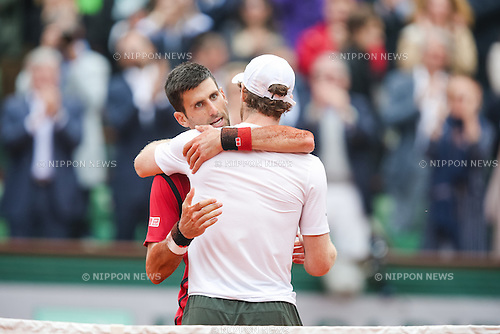 Novak Djokovic (SRB), JUNE 5, 2016 - Tennis : Novak Djokovic of Serbia greets Andy Murray of Great Britain after winning the Men's singles final match of the French Open tennis tournament at the Roland Garros in Paris, France. (Photo by AFLO)