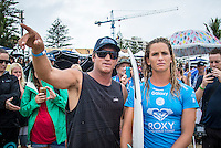 Snapper Rocks, COOLANGATTA, Queensland/AUS (Wednesday, March 16, 2016) Coach Mark Richardson (AUS  with Courtney Conlogue (USA) - Australian surfers Matty Wilkinson (AUS) and Tyler Wright (AUS) made it an Aussie double when he Quiksilver and Roxy Pro Gold Coast,  wrapped up today  with  in clean three-to-five foot (1 - 1.5 metre) waves at Snapper Rocks.<br /> <br /> Wilkinson defeated Kolohe Andino (USA) in the Quiksilver Pro while Wright just got past Courtney Conlogue (USA). <br />  .Photo: joliphotos.com