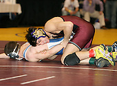 Matt Doolittle and Guiseppi Lanzi wrestle at the 135 weight class during the NY State Wrestling Championships at Blue Cross Arena on March 8, 2008 in Rochester, New York.  (Copyright Mike Janes Photography)