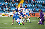 Kilmarnock v St Johnstone...19.09.15  SPFL Rugby Park, Kilmarnock<br /> Lee Ashcroft clears from John Sutton<br /> Picture by Graeme Hart.<br /> Copyright Perthshire Picture Agency<br /> Tel: 01738 623350  Mobile: 07990 594431
