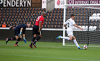 Sam Rickets of Swansea (R) scores the equaliser, making the score 2-2. during the Swansea Legends v Manchester United Legends at The Liberty Stadium, Swansea, Wales, UK. Wednesday 09 August 2017