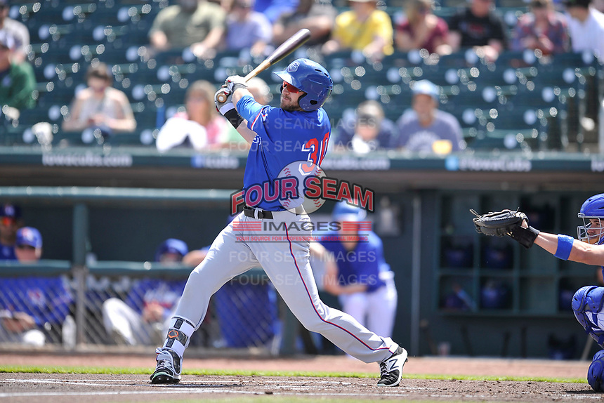 Round Rock Express center fielder Jared Hoying (30) swings  during a game against the Iowa Cubs at Principal Park on April 16, 2017 in Des  Moines, Iowa.  The Cubs won 6-3.  (Dennis Hubbard/Four Seam Images)