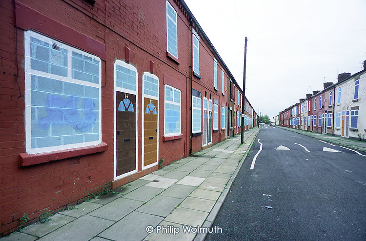 Terraced street of empty houses in Liverpool 8.  The city council plans to demolish 6000 properties suffering from low demand.