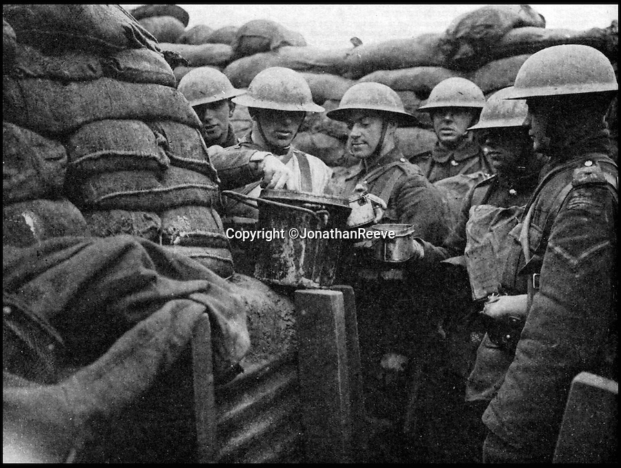 BNPS.co.uk (01202 558833)<br /> Pic: JonathanReeve/BNPS<br /> <br /> 'Luncheon in the trenches' March 1917, Lancashire Fusiliers being served hot stew into their mess tins from a 'dixie' close to Ploegsteert Wood in Flanders.<br /> <br /> The meals that fuelled the British soldiers to victory in the trenches during the First World War have been revealed in a new book.<br /> <br /> And unlike the popular idea of just bully beef and tea, it reveals a suprising varied if largely unappetising mixture that included egg and chips, along with more challenging fare including gruel, calves foot jelly, and onion porridge.<br /> <br /> Then there was the dreaded Maconochie stew, which had been a standard part of rations since the Boer War. <br /> <br /> This watery stew consisted of turnips and vegetables, with minimal meat. Although it was recommended that the tin was warmed prior to eating, it was mostly eaten cold. <br /> <br /> One unfortunate side-effect was it caused flatulence amongst the ranks.<br /> <br /> The huge logistical challenge faced when attempting to keep millions of troops fed and watered is revealed in Hannah Holman's book The Trench Cookbook 1917.