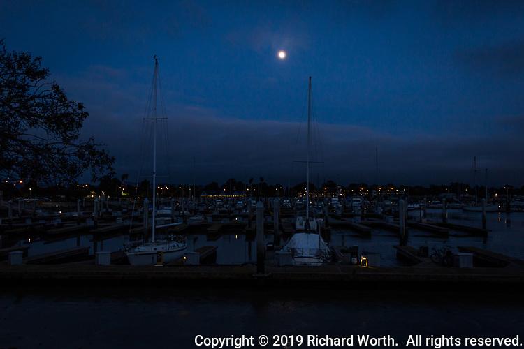 Sail boats, moored at a marina along San Francisco Bay, under a mostly blue sky with the gibbous moon shining down.