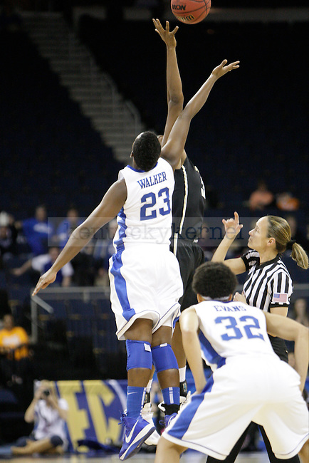 The tip off between UK forward Samarie Walker and Vandy forward Tiffany Clarke during the first half of the University of Kentucky women's basketball game vs. Vanderbilt University during the SEC Tournament at The Arena at Gwinnett Center in Duluth, Ga., on Friday, March 8, 2013. UK won 76-65. Photo by Tessa Lighty | Staff