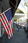 US flag & sidewalk in Los Altos