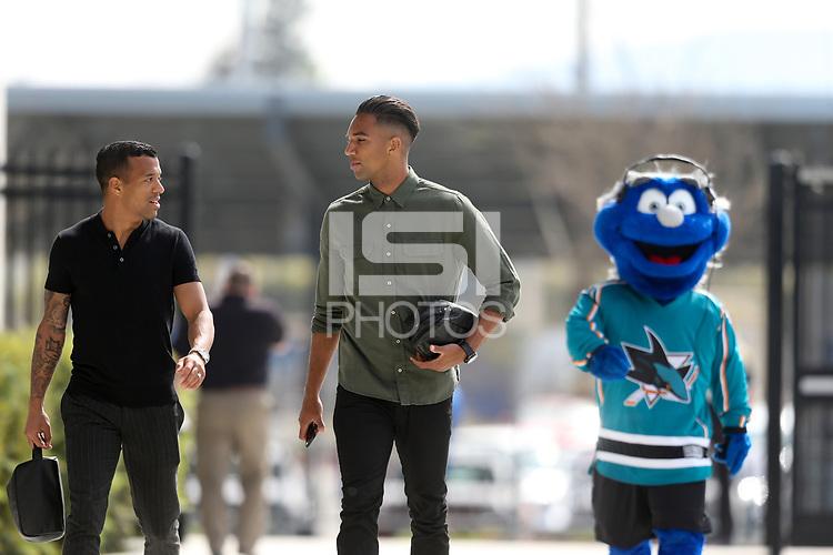 San Jose, CA - Saturday March 31, 2018: Joel Qwiberg, Danny Hoesen prior to a Major League Soccer (MLS) match between the San Jose Earthquakes and New York City FC at Avaya Stadium.