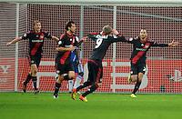 FUSSBALL   CHAMPIONS LEAGUE   SAISON 2011/2012   GRUPPENPHASE Bayer 04 Leverkusen - FC Chelsea    23.11.2011 Simon ROLFES, Manuel FRIEDRICH, Andre SCHUERRLE und Oemer TOPRAK (v.l., alle Leverkusen) bejubeln das Tor zum 2:1