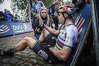 World Champion Wout Van Aert (BEL/Cibel Cebon Offroad Team) exhausted after finishing 3th. <br /> <br /> Koppenbergcross Belgium 2018