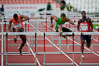 Joel Brown (C) from USA competes in 110m men's hurdles he won with 13.48 during the Istvan Gyulai Memorial Hungarian Athletics Grand Prix 2011, in the Ferenc Puskas Stadium in Budapest, Hungary on July 30, 2011. ATTILA VOLGYI