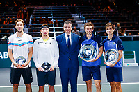 Rotterdam, The Netherlands, 15 Februari 2020, ABNAMRO World Tennis Tournament, Ahoy,<br /> Men's Doubles Final: Men's Doubles Final: Pierre-Hugues Herbert (FRA) and Nicolas Mahut (FRA), Henri Kontinen (FIN) and Jan-Lennard Struff (GER) receive their awards.<br /> Photo: www.tennisimages.com