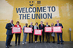 © Joel Goodman - 07973 332324 . 16/06/2016 . Manchester , UK .  Photocall with Joe Anderson , Joyce McCarty , Paulette Hamilton , Labour Shadow Chancellor , John McDonnell MP , Lucy Powell MP, former Labour Prime Minister , Gordon Brown , , Mazher Iqbal and Sir Richard Leese ahead of a speech by McDonnell and Brown at a Labour IN campaign event at the Union at the University of Manchester . Photo credit : Joel Goodman