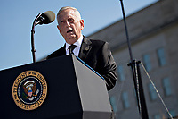 Jim Mattis, United States Secretary of Defense, speaks during a ceremony to commemorate the September 11, 2001 terrorist attacks with U.S. President Donald Trump, not pictured, at the Pentagon in Washington, D.C., U.S., on Monday, Sept. 11, 2017. Trump is presiding over his first 9/11 commemoration on the 16th anniversary of the terrorist attacks that killed nearly 3,000 people when hijackers flew commercial airplanes into New York's World Trade Center, the Pentagon and a field near Shanksville, Pennsylvania.<br /> CAP/MPI/CNP/RS<br /> &copy;RS/CNP/MPI/Capital Pictures