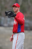 February 24, 2010:  Pitcher Roy Halladay (34) of the Philadelphia Phillies during practice at Carpenter Complex in Clearwater, FL.  Photo By Mike Janes/Four Seam Images