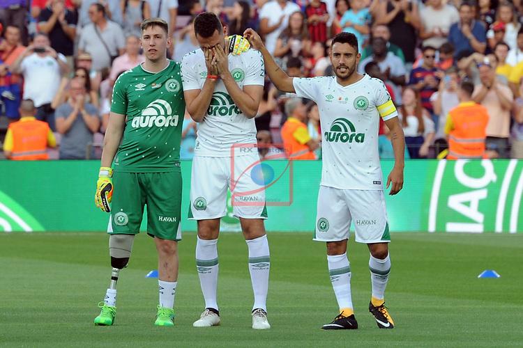 52e Trofeu Joan Gamper.<br /> FC Barcelona vs Chapecoense: 5-0.<br /> Jackson Follman, Helio Neto &amp; Alan Ruschel.