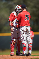 Illinois State Redbirds catcher Jean Ramirez (27) talks with pitcher  David Meade (26) during a game against the Northwestern Wildcats on March 6, 2016 at North Charlotte Regional Park in Port Charlotte, Florida.  Illinois State defeated Northwestern 10-4.  (Mike Janes/Four Seam Images)