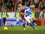 Aberdeen v St Johnstone…22.09.16.. Pittodrie..  Betfred Cup<br />Joe Gormley is brought down by Graeme Shinnie<br />Picture by Graeme Hart.<br />Copyright Perthshire Picture Agency<br />Tel: 01738 623350  Mobile: 07990 594431