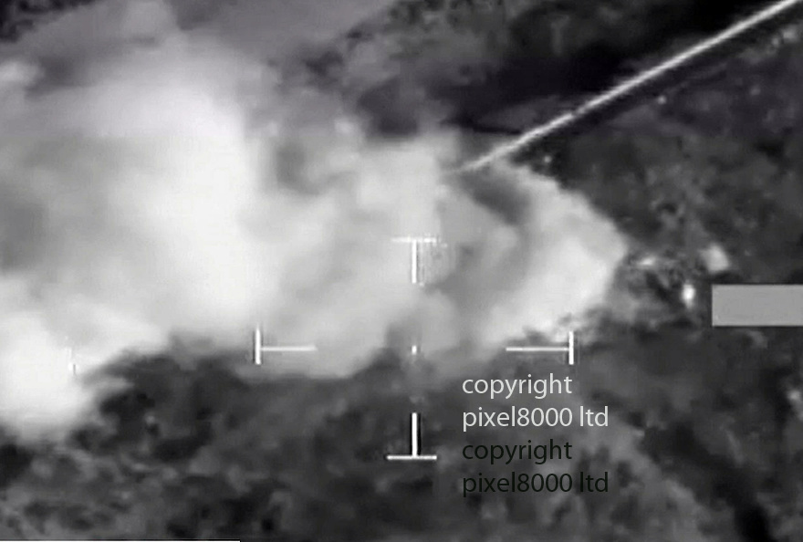 Pic shows: MOD footage of aRoyal Air Force Tornado GR4 aircraft blasting an ISIL pick up truck in Iraq<br /> <br /> <br /> The patrol identified an ISIL armed pick-up truck  and conducted an attack on the vehicle using a Brimstone missile.<br /> <br /> <br /> Picture by Pixel8000 07917221968