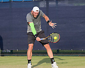 June 13th 2017, Nottingham, England; ATP Aegon Nottingham Open Tennis Tournament day 4;  Sam Groth of Australia gets down low to a backhand