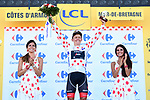 Toms Skujins (LAT) Trek-Segafredo retains the Polka Dot Jersey at the end of Stage 6 of the 2018 Tour de France running 181km from Brest to Mur-de-Bretagne Guerledan, France. 12th July 2018. <br /> Picture: ASO/Alex Broadway | Cyclefile<br /> All photos usage must carry mandatory copyright credit (&copy; Cyclefile | ASO/Alex Broadway)