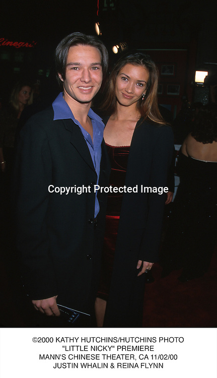 "©2000 KATHY HUTCHINS/HUTCHINS PHOTO.""LITTLE NICKY"" PREMIERE.MANN'S CHINESE THEATER, CA 11/02/00.JUSTIN WHALIN & REINA FLYNN"