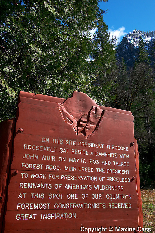 """John Muir and US President Teddy Roosevelt talked wilderness preservation on May 17, 1903. A campfire site marker on the Yosemite Valley floor marks the location where """"...one of our country's foremost conservationists received great inspiration."""" Yosemite National Park, California, United States of America"""