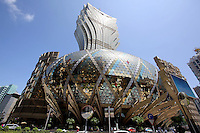 The elaborate facade of the Grand Lisboa casino.<br />