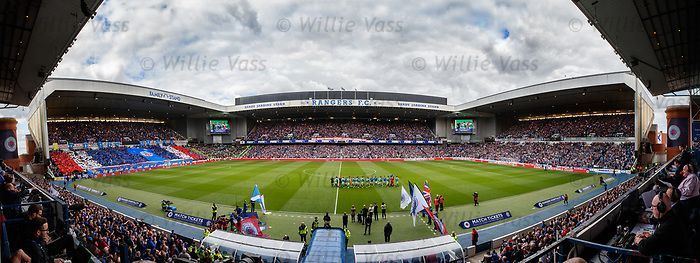 The first home league game of the season is a sellout at Ibrox Stadium as Rangers and Hibs take to the pitch