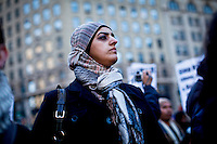 """Muslims holds a protest demanding """"detoxification"""" of brainwashed Police officers and resignation of police top Brass in New York, USA.  January 3, 2012. Photo by Eduardo Munoz Alvarez / viewpress"""