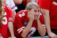 Ohio State senior Alex Pax, 21, of Coldwater, Ohio reacts to Cardale Jones' second interception of the first half during the second quarter of the NCAA football game at Ohio Stadium in Columbus on Sept. 19, 2015. (Adam Cairns / The Columbus Dispatch)