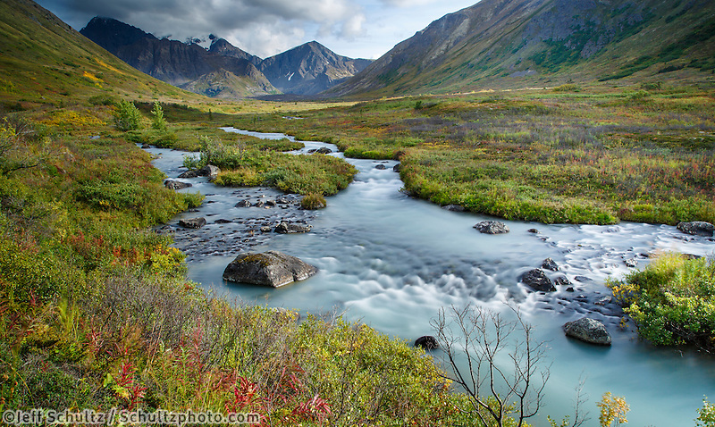 Fall landscape of the South Fork of Eagle River and Chugach Mountains.  Autumn  Southcentral, Alaska.  near Eagle River, Alaska<br />