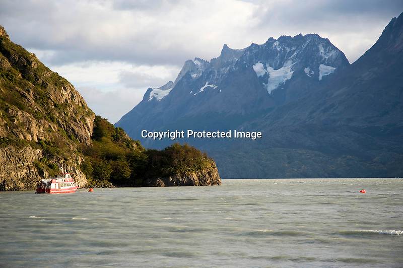 Boat Moored in Lago Grey in Torres del Paine National Park in Patagonia Chile
