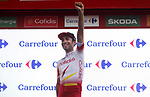 Yet another race leader Nicolas Edet (FRA) Cofidis takes over the Red Jersey at the end of Stage 8 of La Vuelta 2019 running 166.9km from Valls to Igualada, Spain. 31st August 2019.<br /> Picture: Luis Angel Gomez/Photogomezsport | Cyclefile<br /> <br /> All photos usage must carry mandatory copyright credit (© Cyclefile | Luis Angel Gomez/Photogomezsport)