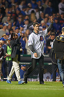 Chicago Cubs legend Mark Prior waves to the crowd before throwing out the ceremonial first pitch during Game 4 of the Major League Baseball World Series against the Cleveland Indians on October 29, 2016 at Wrigley Field in Chicago, Illinois.  (Mike Janes/Four Seam Images)