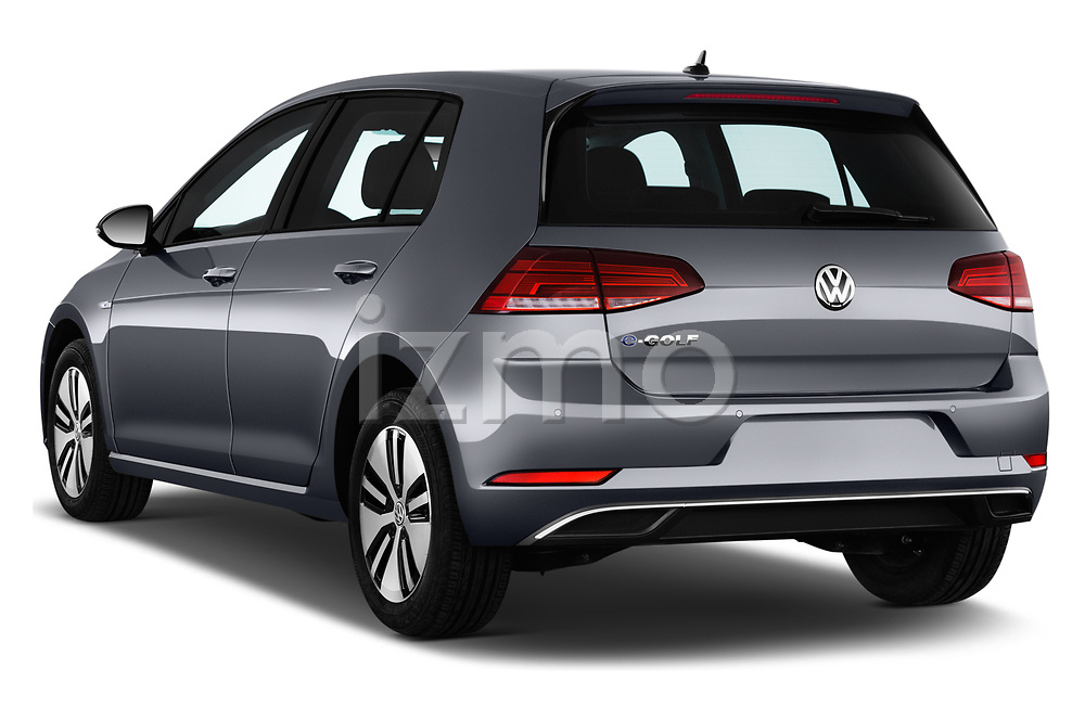 Car pictures of rear three quarter view of a 2017 Volkswagen E-Golf SE 5 Door Hatchback angular rear