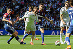 Real Madrid´s Luka Modric and Eibar´s Daniel Garcia during 2014-15 La Liga match between Real Madrid and Eibar at Santiago Bernabeu stadium in Madrid, Spain. April 11, 2015. (ALTERPHOTOS/Luis Fernandez)