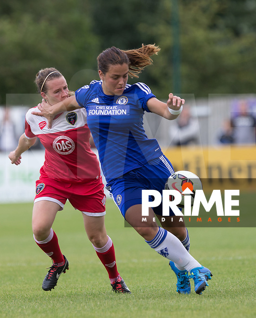 Marija Banusic of Chelsea Ladies holds off Frankie Brown of Bristol Academy WFC during the FAWSL match between Chelsea Ladies and Bristol Academy WFC at Wheatsheaf Park, Staines, England on 12 July 2015. Photo by Andy Rowland.