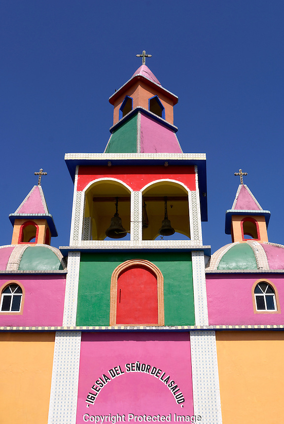 Brightly painted Mexican church at Herbolaria Beto Ram—n, Aguacatitla, Axtla de Terrazas, San Luis Potosi, Mexico