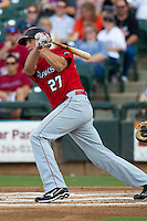 Oklahoma City RedHawks first baseman Mike Hessman #27 swings during the Pacific Coast League baseball game against the Round Rock Express on June 15, 2012 at the Dell Diamond in Round Rock, Texas. The Express shutout the RedHawks 2-1. (Andrew Woolley/Four Seam Images).