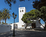 Historic whitewashed church of Nuestra Señora de la Encarnación in Haria, Lanzarote, Canary Islands, Spain
