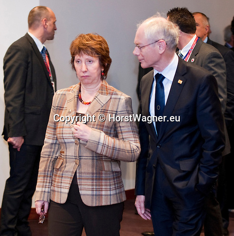 Brussels-Belgium - March 01, 2012 -- European Council, EU-summit during Danish Presidency; here, Catherine ASHTON (le), High Representative for Foreign Affairs and Security Policy of the EU, and Vice President of the European Commission, with Herman Van ROMPUY (ri), President of the European Council -- Photo: © HorstWagner.eu