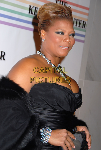 QUEEN LATIFAH .31st Kennedy Center Honors celebrating lifetime achievement in the performing arts held at the Kennedy Center for the Performing Arts,  Washington, D.C. 7th December 2008..half length bracelet profile necklace diamonds strapless black .CAP/ADM/GB.©Gary Boas/Admedia/Capital Pictures