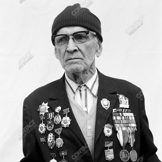 WWII veteran during Victory Day celebrations, Ivan Degtyarev, b. 1921, Weapons Designer, Armoured Forces. Moscow, Russia, May 9, 2008