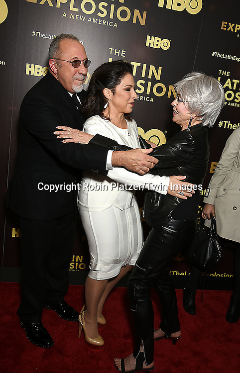 Emilio Estefan, Gloria Estefan and Rita Moreno attend the HBO premiere of &quot;The Latin Explosion: A New America&quot; on November 10, 2015 at the Hudson Theater in New York City, New York, USA.<br /> <br /> photo by Robin Platzer/Twin Images<br />  <br /> phone number 212-935-0770