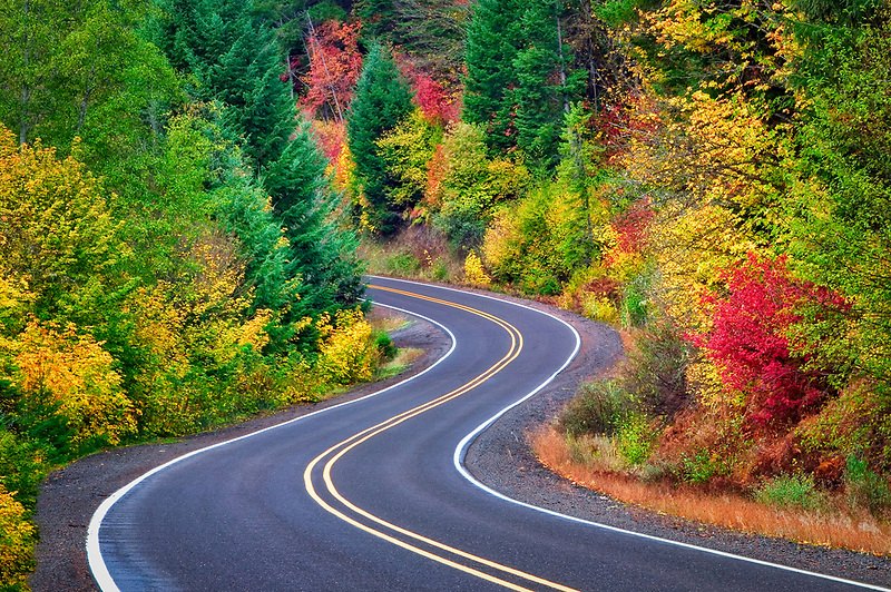 Prospect Butte Falls Hwy. with fall color.  Rogue River National Forest, Oregon