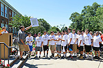 Wantagh, New York, USA. July 4, 2016. Teams members of the high school Wantagh Warriors baseball team receive Certificates issued by Nassau County Supervisor at the 60th Annual Miss Wantagh Pageant, an Independence Day tradition on Long Island. The Wantagh Warriors baseball team won another county championship, its third Long Island Championship and its second New York State Class A championship.