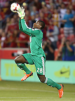 Goalie Bill Hamid #28 of D.C. United saves a shot on goal during a game against Real Salt Lake during the first half of the U.S. Open Cup Final on October  1, 2013 at Rio Tinto Stadium in Sandy, Utah.
