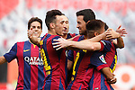 Barcelona´s Leo Messi celebrates a goal with his team mates during La Liga match between Rayo Vallecano and Barcelona at Vallecas stadium in Madrid, Spain. October 04, 2014. (ALTERPHOTOS/Victor Blanco)