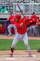 Peoria Chiefs outfielder Dylan Carlson (5) at bat during a Midwest League game against the Beloit Snappers on April 15, 2017 at Pohlman Field in Beloit, Wisconsin.  Beloit defeated Peoria 12-0. (Brad Krause/Four Seam Images)